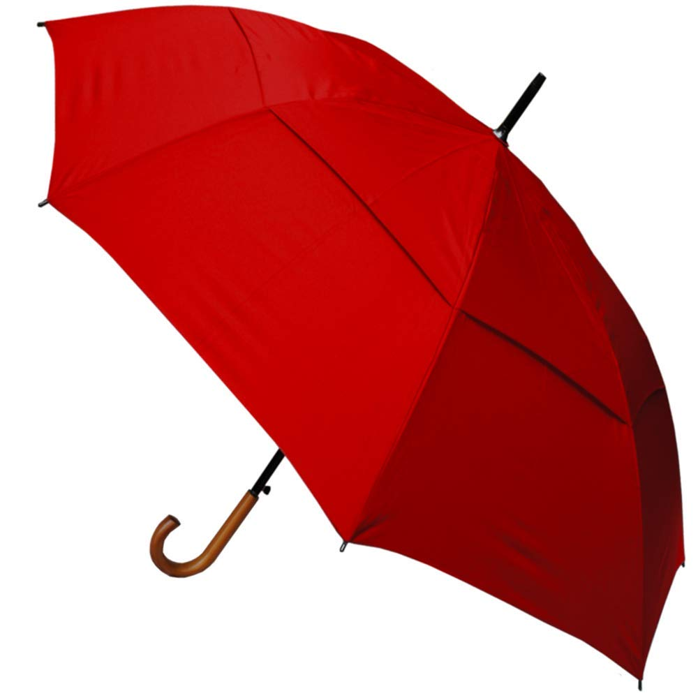 Wedding Red Auto Open Solid Wood Hook Handle Windproof Extra Strong StormDefender City Umbrella Collar and Cuffs London Vented Double Canopy