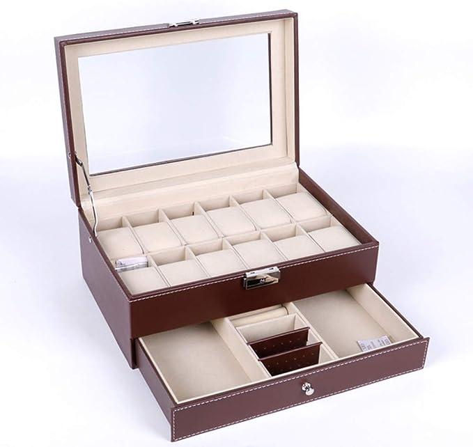 QXTT Caja Estuche De PU para Relojes Organizador Joyero De Joyas para Guardar Relojes con 12 Compartimentos para Pendientes Collares Pulseras,Brown: Amazon.es: Hogar