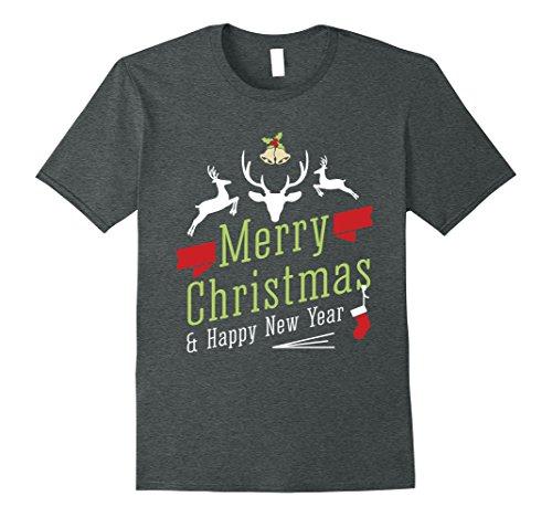 Mens Merry Cristmas and Happy New Year Tee XL Dark Heather (Merry Cristmas)