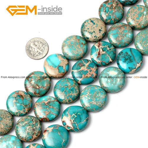 - Calvas Round Sea Sediment Jaspers Blue Coin Beads for Jewelry Making 16-25mm 15inches DIY Jewellery ping Wholesale Calvas - (Color: 20MM Light Blue)