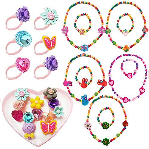 7Queen Kids Jewelry - for Little Girls and Toddlers - Stretch Butterfly Necklace, Ring, Bracelet Set - Great Costume Jewelry and Accessories for Children to Play Pretend and Dress Up