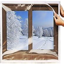 "SES.CO Reusable Transparent Indoor Window Insulation Kit,Heavy Duty Weatherproof Insulator for Summer & Winter,48""x63"""