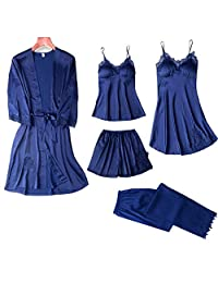 Chinashow Set of 5 Womens Satin Pajamas Set Sexy Ice Silk Suit Set Sleepwear/Nightwear Clothes, Navy Blue #A