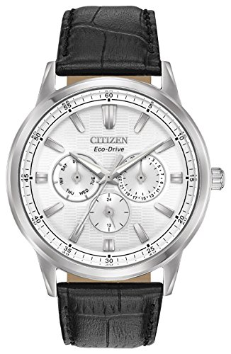 Citizen-Mens-Eco-Drive-Quartz-Stainless-Steel-and-Leather-Casual-Watch-ColorBlack-Model-BU2070-04A