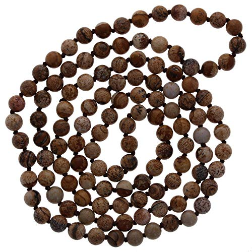 6mm Polished Picture Jasper Necklace, 36 Necklace, Hand Knotted, Wholesale (Jasper Fabric Necklace)