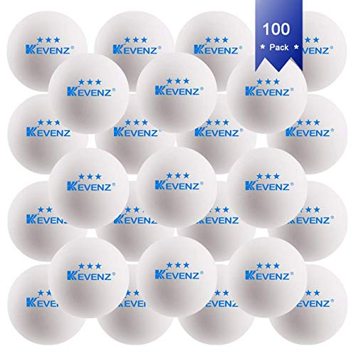 KEVENZ 100-Pack 3-Star 40mm Table Tennis Balls,Advanced Training Ping Pong Balls (White)