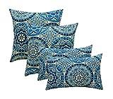 Resort Spa Home Set of 4 Indoor/Outdoor Pillows - 17' Square Throw Pillows & Rectangle/Lumbar Decorative Throw Pillows - Wheel Indigo - Blue, Ivory Large Sundial