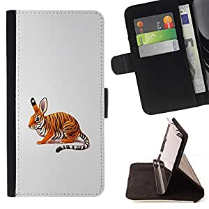 DEVIL CASE - FOR Sony Xperia M2 - Funny Cool Rabbit Tiger - Style PU Leather Case Wallet Flip Stand Flap Closure Cover