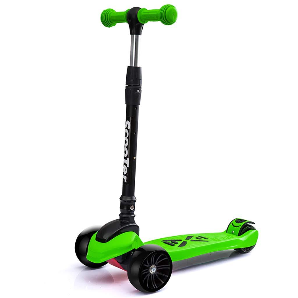 4 Rad-Roller-Höhen-justierbares faltbares glattes Reiten mageres, zum des Treter-Tritt-Rollers mit blinkendem PU-Rad zu steuern stützt 176 Lb Gewicht (Farbe   Grün)