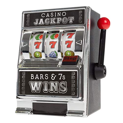 Trademark Gameroom Slot Machine Coin Bank - Realistic Mini Table Top Novelty Las Vegas Casino Style Jackpot Toy with Lever for Kids & Adults