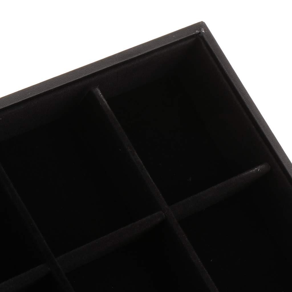 Almencla Coffret Bo/îte Plateau /à Bijoux Pr/ésentoir Velours sans Couvercle Noir 35x24x3cm
