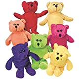 Dozen Plush Bean Bag Neon Teddy Bear Stuffed Animals