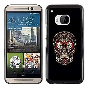 YiPhone /// Prima de resorte delgada de la cubierta del caso de Shell Armor - Skull Red Blood Rose Floral Black - HTC One M9