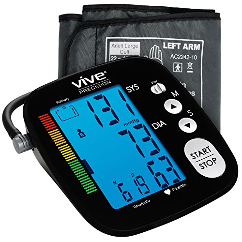 Automatic Digital Arm (Blood Pressure Monitor by Vive Precision - Automatic Digital Upper Arm Cuff - Accurate, Portable and Perfect for Home Use - Electronic Meter Measures Pulse Rate - 1 Size Fits Most Cuff, Black)
