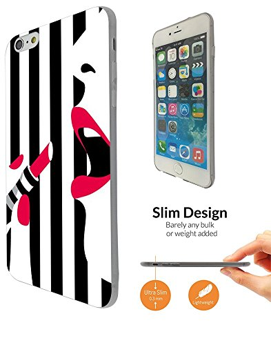 1416 - Cool Fun Trendy cute make up bloggers favourite black and white sexy lips lipstick Design iphone 6 6S 4.7'' Coque Fashion Trend Case Coque Protection Cover plastique et métal - Clear