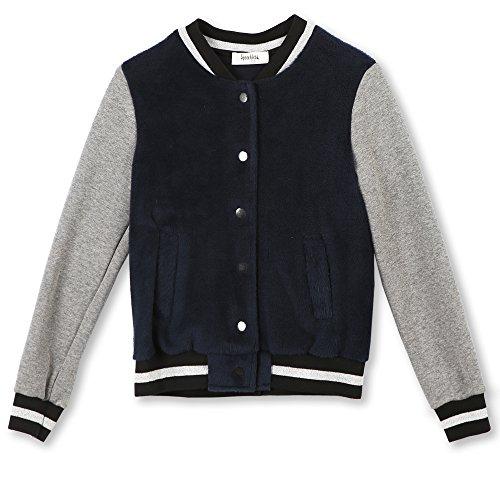 Speechless Big Girls' Varsity Jacket, Navy Silver, Large by Speechless