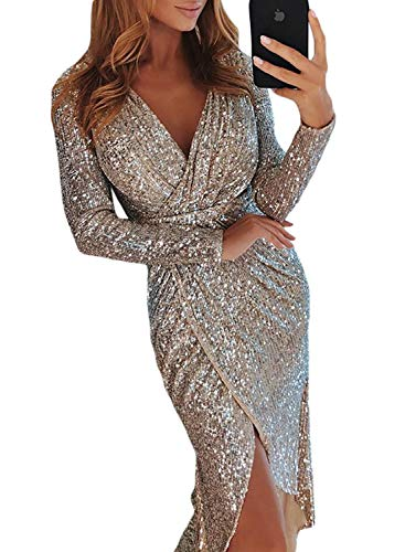 Sidefeel Women Sequins Wrap Ruched Long Sleeve Nightclub Dress Medium Apricot -