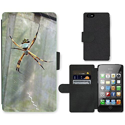 Just Phone Cases PU Leather Flip Custodia Protettiva Case Cover per // M00128880 Araignée insectes Natura Nature Animaux // Apple iPhone 4 4S 4G