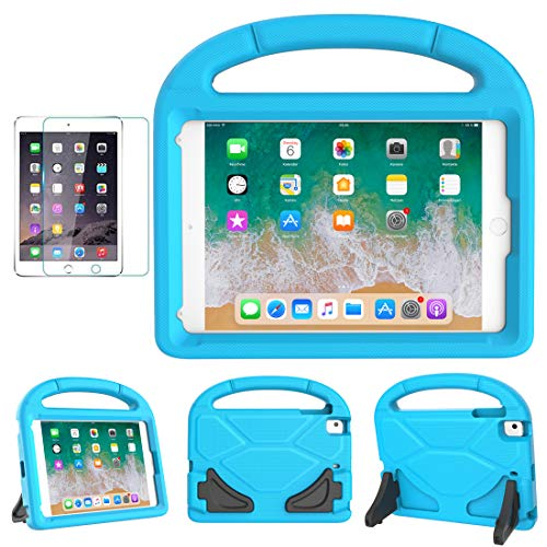 iPad Mini 1/2/3/4/5 Case for Kids, SUPLIK Durable Shockproof Protective Handle Bumper Stand Cover with Screen Protector for Apple 7.9 inch iPad Mini 5th (2019),4th,3rd,2nd,1st Generation, Blue (Ipad Mini 3 Stand Cover)