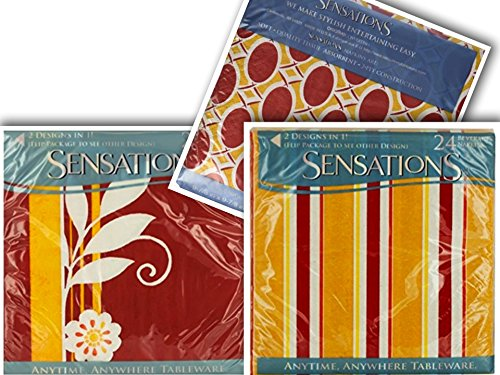 2 Pack Durable Sensations Multipurpose Napkins | Stylish, Soft , | 2-Ply Absorbent | Multipurpose- Beverage, Food, & Hand Towels (Red Yellow White) - 48 ct (Breezy Days & Fancy Lattice)