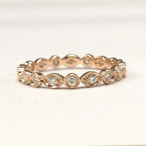 Moissanite Wedding Band Eternity Anniversary Ring 18K Rose Gold, Bezel, Art Deco (Antique Eternity Wedding Ring)