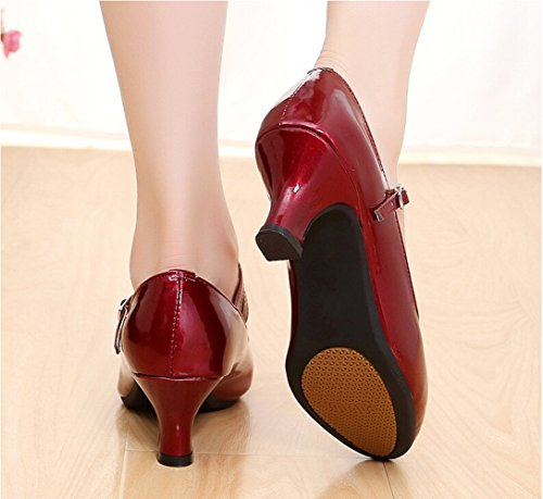 Red Heel 5 Glitter Latin Rubber Shoes Wine Dance Ladies Leather 5 Waltz Tango Kitten Ballroom Heel Sole PU Salsa WAUqO