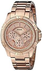GUESS Women's U0235L3 Dynamic Feminine Rose Gold-Tone Mid-Size Sport Watch