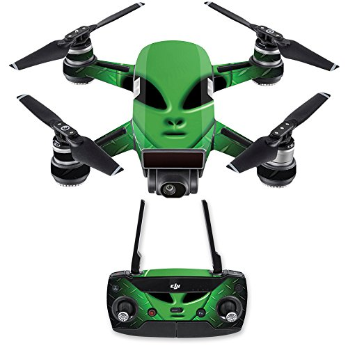 MightySkins Skin for DJI Spark Mini Drone Combo - Alien Invasion | Protective, Durable, and Unique Vinyl Decal wrap Cover | Easy to Apply, Remove, and Change Styles | Made in The USA