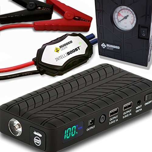 12v Air New Ac (Rugged Geek RG1000 Safety Plus 1000A Portable Car Jump Starter, Battery Booster Pack and USB/Laptop Power Supply with LCD Display, INTELLIBOOST Smart Cables, LED Flashlight, and 12V AIR COMPRESSOR!)