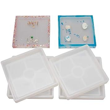 Amazon.com: Pack de 4 posavasos cuadrados de silicona para ...