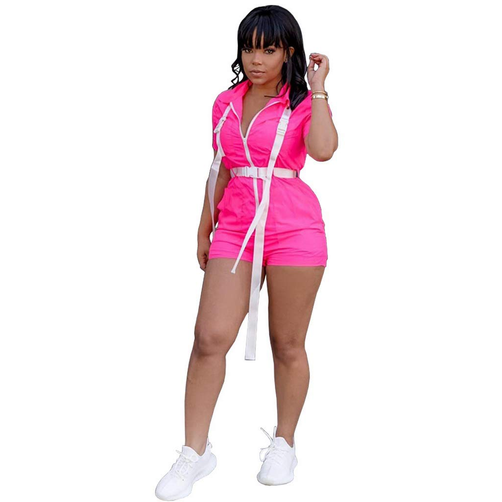Fafalisa Women Summer Short Sleeve Zipper up Buckle Splicing with sasehs Short Jumpsuit Casual Sporty Playsuit Romper(Pink,S)
