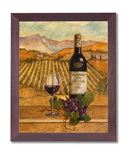 Merlot Wine Grapes with Vineyards Painting Wall Picture Cherry Framed Art Print ()