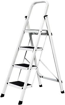 Escalera plegable taburete banqueta Escalera de mano liviana Escalera de 4 escalones, escaleras de acero de servicio pesado para escaleras interiores plegables, con paso ancho antideslizante, 150 kg: Amazon.es: Bricolaje y herramientas