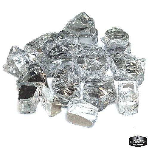 Midwest Hearth Diamond White Reflective Fire Pit Glass 1/2 10-Pound Jar, - Propane White Fire Pit