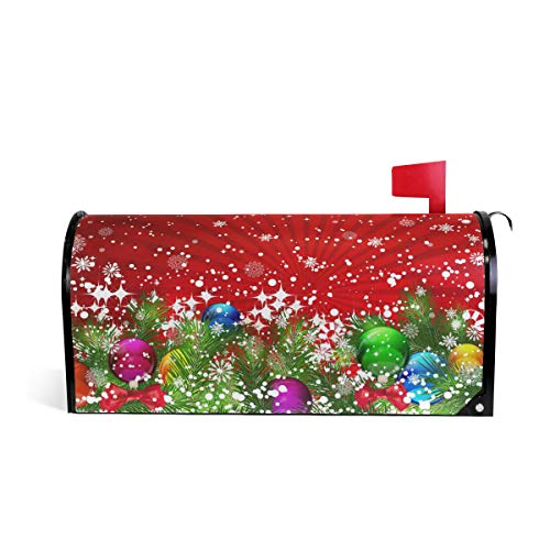 (WOOR Christmas Tree Decoration and Snowflakes Magnetic Mailbox Cover Oversized-25.5