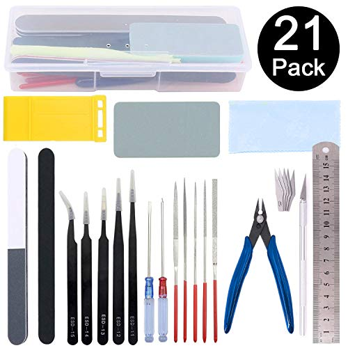 Esoca 21Pcs Gundam Modeler Basic Tools Craft Set Gundam Model Tools Kit with Box for Professional Hobby Model Assemble - Tools Kit Model Plastic