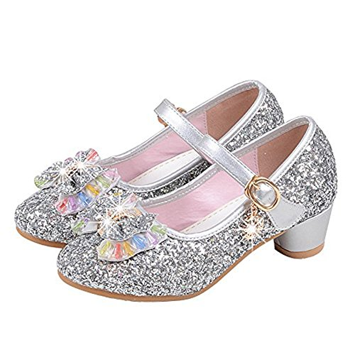 YING LAN Girl's Princess Cosplay Performance Shoes Sequins Dress Shoes Low Heeled Silver 27 ()