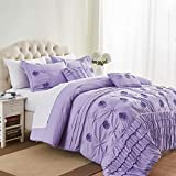Cassiel Home Kayla 5pcs 3D Flower Embroidery Comforter Set Amazing Textured Pleating Bedding with Diamonds for Kids Teen Girls Twin XL Size, Purple