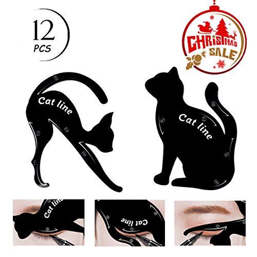 TailaiMei 12 Pcs Cat Eyeliner Stencils, Matte PVC Material Smoky Eyeshadow Applicators Template Plate, Cat Shape Eye liner & Eye Shadow Guide Template Tool