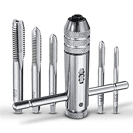Adjustable T Handle Ratchet Tap Wrench with 5pcs M3-M8 Metric Screw Thread Plug Tap