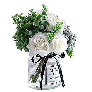 Silk Flower Arrangements Lavenda Rose Berries Hydrangea Bouquet in Vase Artificial Silk Flowers, 1 Sets