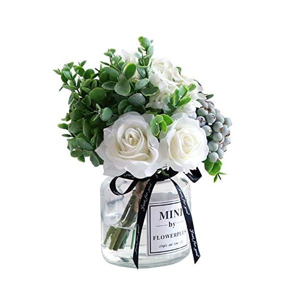 Lavenda Rose Berries Hydrangea Bouquet in Vase Artificial Silk Flowers, 1 Sets