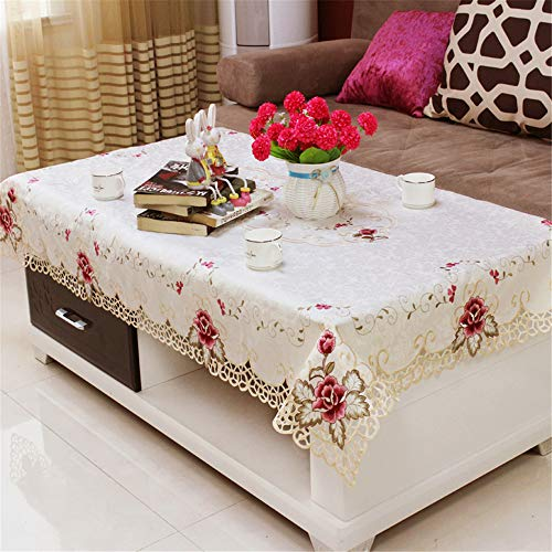 - ersgfv Family Hotel Catering Wedding White red Tablecloth with lace Silk Embroidery Floral Rectangular Tablecloth A 107x157cm