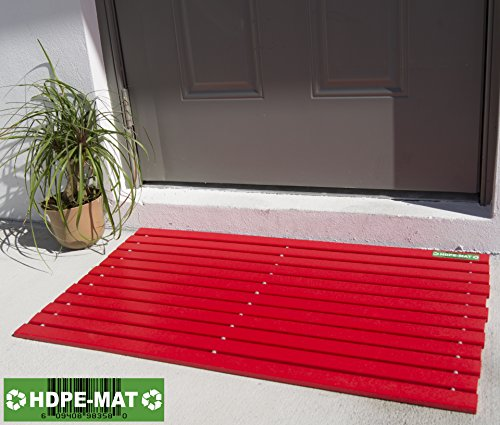 Heavy Duty Waterproof Front Door Mat | Eco Friendly | Stylish Handcrafted Red Recycled Plastic Poly Lumber Slats - Welcome Doormat For Outdoor Entrance Porch Garage Patio Entry | UV (Recycled Plastic Lumber)