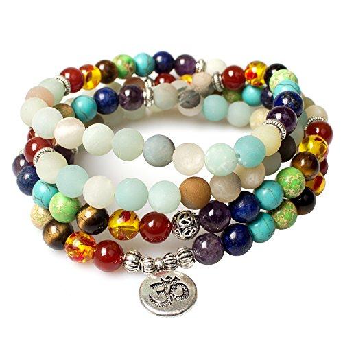Necklace,7 Chakra Bracelet Tibetan Prayer Mala Beads Amazonite Healing Gemstone Pendant Necklace Bracelet Beautiful Gift Box Packing(Amazonite,OMm1)