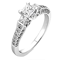 1.00 Carat (ctw) 14k Gold Princess & Round 3 Stone Diamond Ladies Bridal Engagement Ring 1 CT