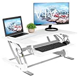 VIVO White Height Adjustable 36 inch Stand up Desk Converter | Quick Sit to Stand Tabletop Dual Monitor Riser Workstation (DESK-V000VW)