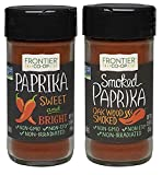 Frontier CO-OP Sweet and Bright Paprika 1.69 oz and Oakwood Smoked 1.87 oz Paprika (set of 2)