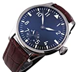 Parnis Pilot 44mm Black Dial White Number Men's Women's Wristwatch 6498 Movement Hand-wound Mechanical