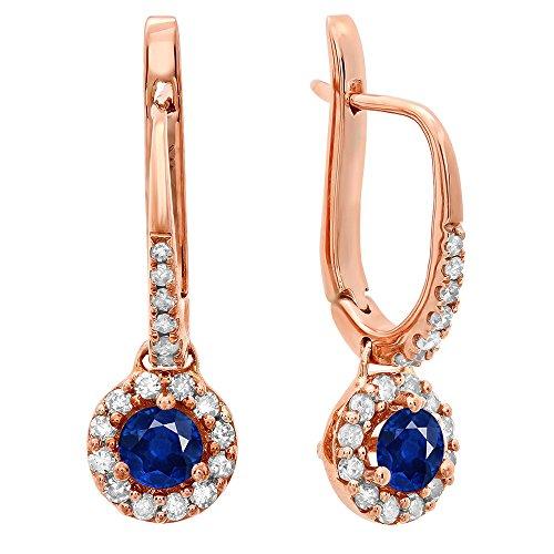 (14K Rose Gold 3 MM Each Round Blue Sapphire & White Diamond Ladies Halo Dangling Drop Earrings)